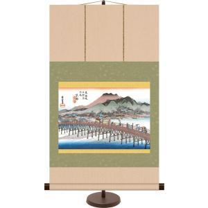 和風モダン浮世絵ミニ掛け軸 京都 三条大橋 歌川広重 飾りスタンド付き 部屋置き[送料無料]|honakote