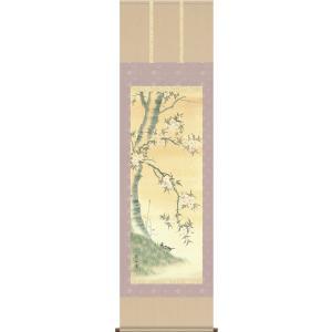 掛軸 掛け軸-桜花/高見蘭石 花鳥画掛軸送料無料(尺五 桐箱 風鎮付き 緞子)床の間 和室 おしゃれ モダン ギフト つるす 飾る|honakote