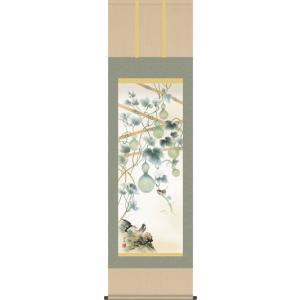 掛軸 掛け軸-六瓢/井川洋光 花鳥掛軸送料無料(尺五)床の間 和室 おしゃれ モダン ギフト つるす 飾る|honakote