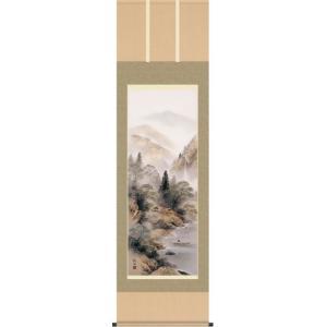 掛軸 掛け軸-彩色山水/田口紅洋 山水掛軸送料無料(尺五)床の間 和室 飾る 日常掛け オシャレ モダン 表装|honakote