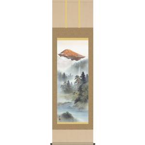 掛軸 掛け軸-紅峰清風/鈴村秀山 山水掛軸送料無料(尺五) 床の間 和室 飾る 日常掛け オシャレ モダン 表装|honakote