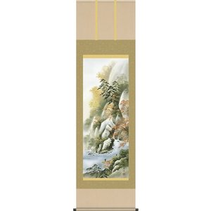 掛軸 掛け軸-「秋」紅葉山景/小林秀峰 山水掛軸送料無料(尺五 桐箱 風鎮付)秋用掛け軸 壁掛け 床の間飾り 日常掛け|honakote