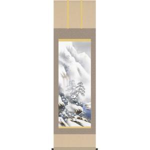 掛軸 掛け軸-「冬」雪景幽谷/小林秀峰 山水掛軸送料無料(尺五 桐箱 風鎮付)冬用掛け軸 壁掛け 床の間飾り 日常掛け|honakote
