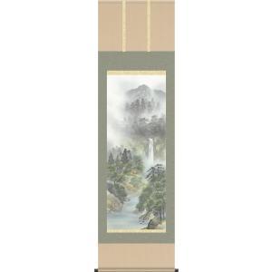 掛軸 掛け軸-四季揃の[夏]/伊藤渓山 山水画掛軸送料無料(尺五 桐箱 風鎮付き 緞子)床の間 和室 オシャレ モダン つるす 飾る 表装|honakote