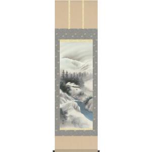 掛軸 掛け軸-四季揃の[冬]/伊藤渓山 山水画掛軸送料無料(尺五 桐箱 風鎮付き 緞子)床の間 和室 オシャレ モダン つるす 飾る 表装|honakote