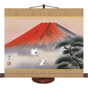 掛け軸 掛軸-赤富士飛翔/伊藤 渓山(ミニ掛軸・飾りスタンド付き)贈り物 ギフト おしゃれ インテリア|honakote