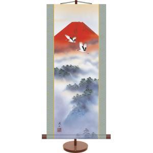 掛け軸 掛軸-赤富士双鶴/伊藤 渓山(ミニ掛軸・飾りスタンド付き)贈り物 ギフト おしゃれ インテリア|honakote
