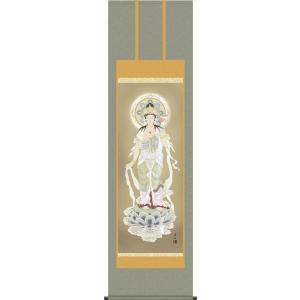 掛軸 掛け軸-聖観音/高見蘭石 送料無料掛け軸(尺五・桐箱・風鎮付き)お盆用掛軸|honakote