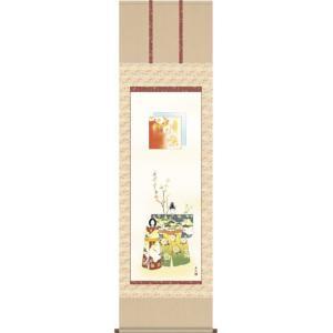掛軸 掛け軸-立雛/西尾香悦 送料無料掛け軸(尺五)和室 床の間 初節句 桃 雛祭り 飾り お雛様 女の子 モダン オシャレ ギフト 表装|honakote