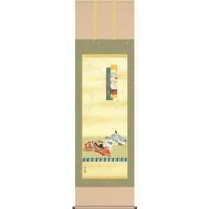掛け軸-歌仙雛/伊藤 渓山[尺五 桐箱 風鎮 和室 床の間 節句画 桃 雛祭り お雛様 女の子 モダン オシャレ 壁掛け 安い 贈物 ギフト 飾る]|honakote