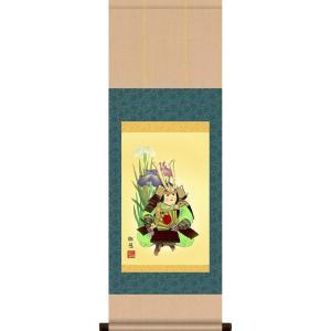 掛軸 掛け軸-武者と菖蒲/工藤翔悠 送料無料掛け軸(コンパクト尺幅・紙箱)端午の節句掛軸|honakote