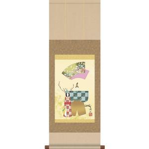 掛軸 掛け軸-立雛/伊藤渓山 送料無料掛け軸(尺幅 化粧箱 風鎮付き)和室 床の間 初節句 桃 雛祭り 飾り お雛様 女の子 モダン オシャレ 壁掛け 贈物|honakote