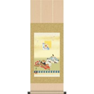 ミニ掛け軸ひな祭り-歌仙雛/伊藤 渓山(樹脂製飾りスタンド付き)コンパクトサイズの掛軸 雛祭り 贈答 お雛様 女の子 モダン オシャレ ギフト|honakote