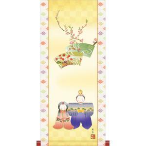 ミニ掛け軸ひな祭り-人形雛/伊藤 香旬(樹脂製飾りスタンド付き)コンパクトサイズの掛軸 雛祭り 贈答 お雛様 女の子 モダン オシャレ ギフト|honakote