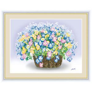 【F6】風水絵額 ビオラのブーケ 洋美 アート インテリア 安らぎ 潤い 壁掛け [送料無料]|honakote