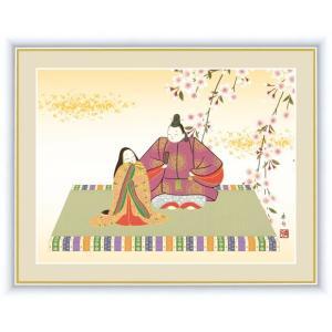 【F6】桃の節句画額 吉祥雛 伊藤香旬 和の風情 モダン インテリア 安らぎ 潤い 壁飾り [送料無料]|honakote