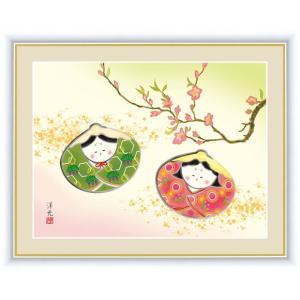 【F6】桃の節句画額 貝雛 井川洋光 和の風情 モダン インテリア 安らぎ 潤い 壁飾り [送料無料]|honakote