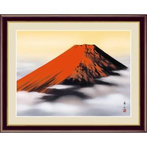 【F6】富士山水画額 赤富士 鈴村秀山 和の風情 モダン インテリア 安らぎ 潤い 壁掛け [送料無料]|honakote