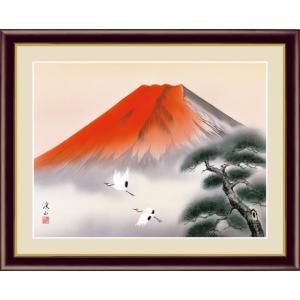 【F6】富士山水画額 赤富士飛翔 伊藤渓山 和の風情 モダン インテリア 安らぎ 潤い 壁掛け [送料無料]|honakote