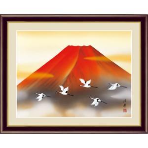 【F6】富士山水画額 赤富士飛翔 加藤洋峯 和の風情 モダン インテリア 安らぎ 潤い 壁掛け [送料無料]|honakote