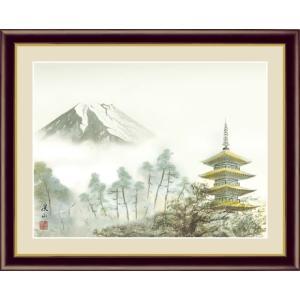 【F6】富士山水画額 富士塔景 伊藤渓山 和の風情 モダン インテリア 安らぎ 潤い 壁掛け [送料無料]|honakote