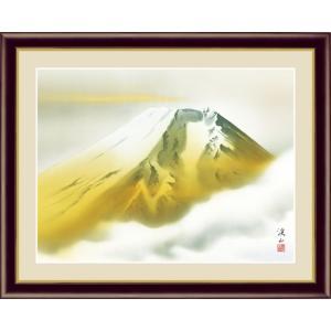 【F6】富士山水画額 金富士 伊藤渓山 和の風情 モダン インテリア 安らぎ 潤い 壁掛け [送料無料]|honakote