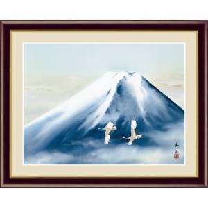【F6】富士山水画額 黎明富士 鈴村秀山 和の風情 モダン インテリア 安らぎ 潤い 壁掛け [送料無料]|honakote