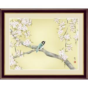 【F6】花鳥画春飾り額 桜花に小鳥 森山観月 和の風情 モダン インテリア 安らぎ 潤い 壁掛け [送料無料]|honakote