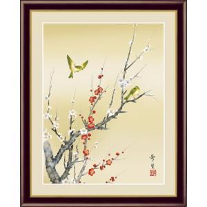 【F6】花鳥画春飾り額 紅白梅に鶯 北山歩生 和の風情 モダン インテリア 安らぎ 潤い 壁掛け [送料無料]|honakote