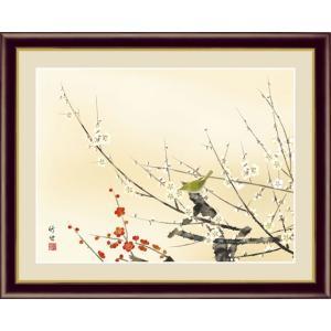 【F6】花鳥画春飾り額 紅白梅に鶯 田村竹世 和の風情 モダン インテリア 安らぎ 潤い 壁掛け [送料無料]|honakote