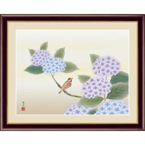 【F6】花鳥画夏飾り額 紫陽花 清水玄澄 和の風情 モダン インテリア 安らぎ 潤い 壁掛け [送料無料]|honakote