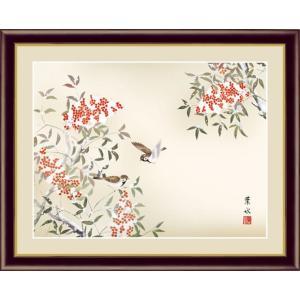 【F6】花鳥画冬飾り額 南天に雀 緒方葉水 和の風情 モダン インテリア 安らぎ 潤い 壁掛け [送料無料]|honakote