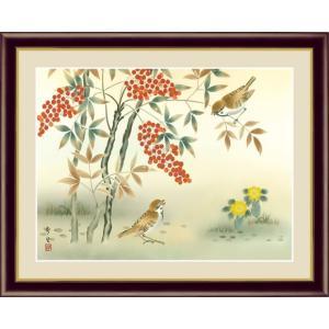 【F6】花鳥画冬飾り額 南天福寿 北山歩生 和の風情 モダン インテリア 安らぎ 潤い 壁掛け [送料無料]|honakote