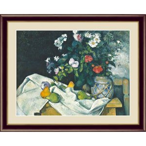 【F6】世界の名画額 花と果物のある静物 セザンヌ 有名美術館 レプリカ モダン インテリア 壁掛け 階段飾り [送料無料] honakote