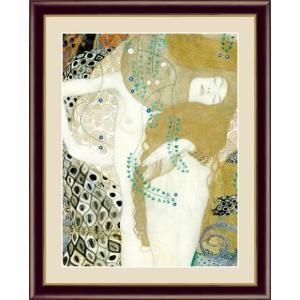 【F6】世界の名画額 水蛇1 クリムト 有名美術館 レプリカ モダン インテリア  壁掛け 階段飾り [送料無料] honakote