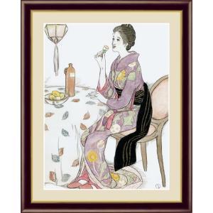 【F6】日本の名画額 青い酒 竹久夢二 モダンアート インテリア 安らぎ 潤い 壁掛け [送料無料] honakote