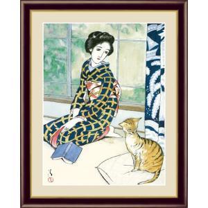 【F6】日本の名画額 晩春 竹久夢二 モダンアート インテリア 安らぎ 潤い 壁掛け [送料無料] honakote