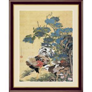 【F6】日本の名画額 紫陽花双鶏図(あじさいそうけいず) 伊藤若冲 モダンアート インテリア 安らぎ 潤い 壁掛け [送料無料]|honakote