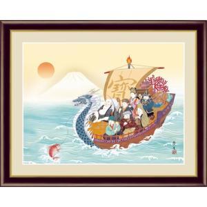 【F6】縁起画額 七福神 北山歩生 和の風情 モダン インテリア 安らぎ 潤い 壁飾り [送料無料]|honakote