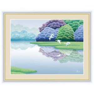 【F6】森と湖のある風景絵額 湖畔早春 竹内凛子 アート インテリア 安らぎ 潤い 壁掛け [送料無料]|honakote