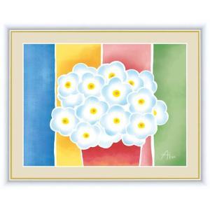 【F6】ちょっと気になる植物たち絵額 青い花の鉢植え 春田あかり アート インテリア 安らぎ 潤い ...