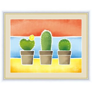 【F6】ちょっと気になる植物たち絵額 サボテンの鉢植え 春田あかり アート インテリア 安らぎ 潤い...