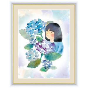 【F6】微笑みの中のこどもたち絵額 紫陽花と少女 榎本早織 アート インテリア 安らぎ 潤い 壁掛け [送料無料]|honakote