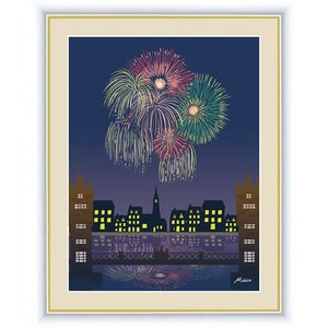 【F6】やすらぎの夜景絵額 花火 田口みちる アート インテリア 安らぎ 潤い 壁掛け [送料無料]|honakote