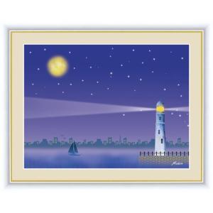 【F6】やすらぎの夜景絵額 満月 田口みちる アート インテリア 安らぎ 潤い 壁掛け [送料無料]|honakote