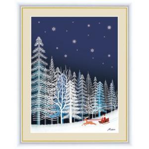 【F6】やすらぎの夜景絵額 雪の結晶 田口みちる アート インテリア 安らぎ 潤い 壁掛け [送料無料]|honakote