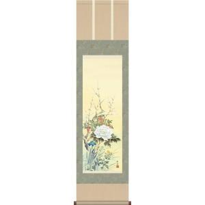 掛軸 掛け軸-四季花/長江桂舟 花鳥掛軸送料無料(小さい尺三)年中用掛け軸 床の間 和室 おしゃれ モダン ギフト つるす 飾る|honakote