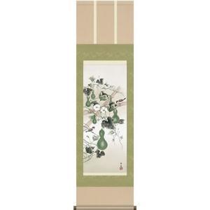 掛軸 掛け軸-六瓢/北山歩生 花鳥掛軸送料無料(小さい尺三)夏用掛け軸 床の間 和室 おしゃれ モダン ギフト つるす 飾る|honakote