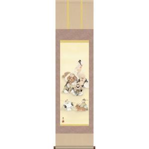 掛け軸-七福神/榎本 東山(小さめ尺三 開運用掛軸 縁起画掛軸)床の間 和室 飾り 日常掛け お洒落 モダン 縁起 表装 honakote