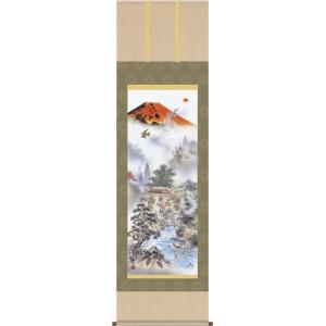 掛軸 掛け軸-赤富士四神万全図/有馬荘園 送料無料掛け軸(尺三)小さい掛軸をマンションなどの床の間に|honakote